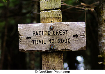 Sign post for trail 2000 Pacific Crest Trail in the Mt Hood...