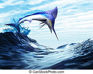 JUMP - A beautiful blue marlin bursts through a wave in a...