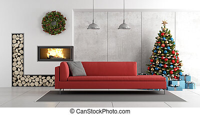 Modern living room with fireplace and christmas tree -...
