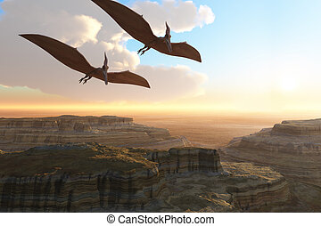 PREHISTORIC CANYON - Two Pterodactyl flying dinosaurs soar...