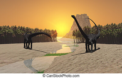 PREHISTORIC RIVER - Two Diplodocus dinosaurs come to a river...