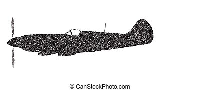 Fighter Plane Dotted Silhouette - A Supermarine World War II...