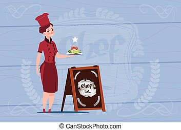 Female Chef Cook Holding With Salad Smiling Cartoon In...