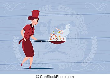 Female Chef Cook Holding Frying Pan Cartoon In Restaurant...