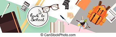 Back To School Top Angle View Of Desk With Different Supplies
