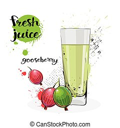Gooseberry Juice Fresh Hand Drawn Watercolor Fruit And Glass...