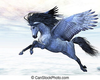 SILVER PEGASUS - Pegasus flies high in the air over the...