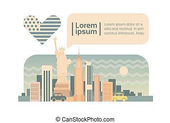 New York Street City Panorama Facade Skyline Cartoon