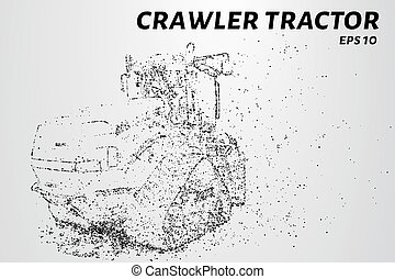 Crawler tractor from the particles. Agricultural machinery...