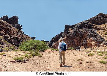 The tourist leaves on stuffed path, Hormuz Island,...