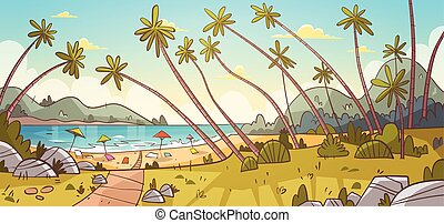 Summer Vacation Loungers On Sea Beach Landscape Beautiful Seascape Banner Seaside Holiday
