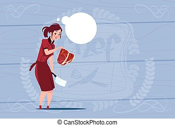 Female Chef Cook Holding Meat Cartoon Chief In Restaurant...