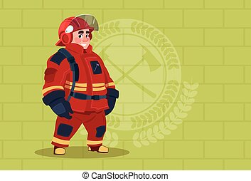 Fireman Wearing Uniform And Helmet Adult Fire Fighter Stand...