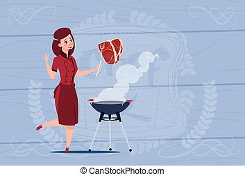 Female Chef Cook Grilling Meat Cartoon Chief In Restaurant...