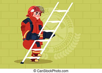 Fireman Climb Ladder Up In Uniform And Helmet Adult Fire...