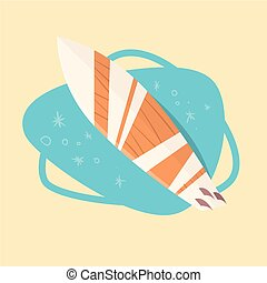 Surfing Board Icon Summer Sea Vacation Concept Summertime Holiday