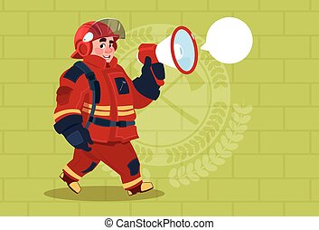 Fireman Speaking In Megaphone Wear Uniform And Helmet Adult...