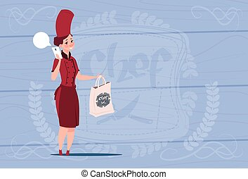 Female Chef Cook Holding Bag With Food Restaurant Delivery...