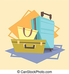 Luggage Icon Summer Sea Vacation Concept Summertime Holiday