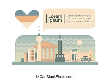Berlin Street City Buildings Facade Skyline Cartoon Flat...
