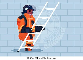 African American Fireman Climb Ladder Up In Uniform And Helmet Adult Fire Fighter Over Brick Background