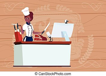 Female African American Chef Cooking In Front Of Web Camera...
