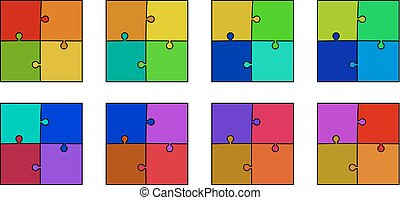 abstract colored puzzle set - red, orange, yellow, green,...