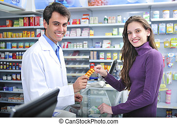 Pharmacist and client at pharmacy - Customer buying medicine...