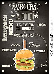 Burger House Menu Poster on Chalkboard. Vector Illustration.
