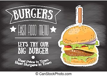 Burger House Menu Retro Poster on Chalkboard. Vector...