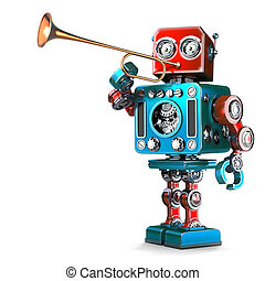 Vintage Robot playing trumpet. 3D illustration. Isolated. Contains clipping path