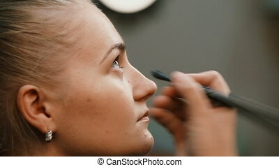 Make up artist doing professional make up of young woman -...