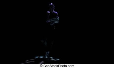 Computer graphics, silhouette man perform brake dance on...