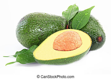 Avacado exotic fruit on white background