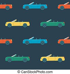 Seamless pattern with cabriolet cars - Seamless pattern with...