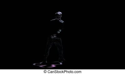 Brake dance perform silhouette man on black background,...