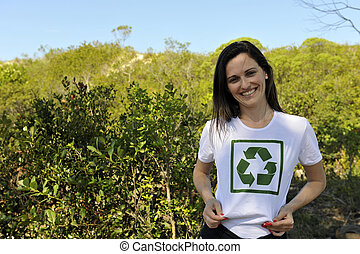 volunteer wearing a recycling t-shirt - happy volunteer...