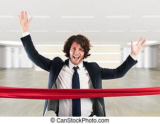 Successful businessman on the finishing line - Businessman...