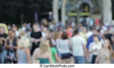 A group of people on a pedestrian crossing - Pedestrian zone...