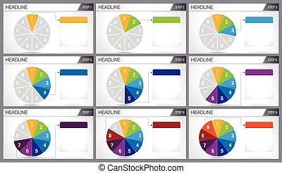 Circular pie divided into 9 equal parts are illuminated in sequence on white background. Elements for infographics, use in presentation. Vector image