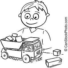 Cartoon Illustration of Boy Playing with Toy Car and Wooden Bricks Blocks