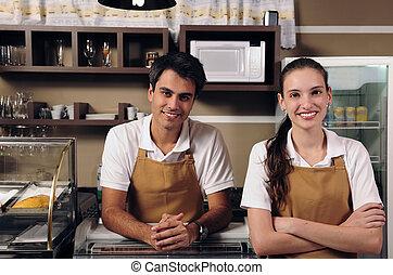 camarera, camarero, trabajando, café
