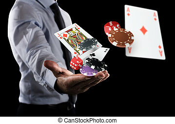 Gambler makes his bet - Rich Gambler makes his bet with...