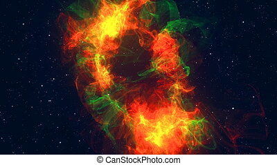 Colorful space background. Glowing galaxy. 3d rendered