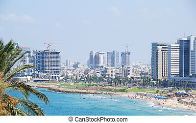 Tel Aviv skyline - Coastline of the Mediterranean Sea, Tel...