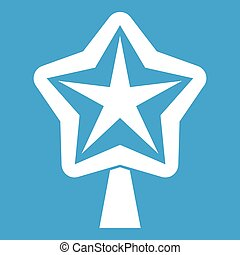 Star for christmass tree icon white isolated on blue...