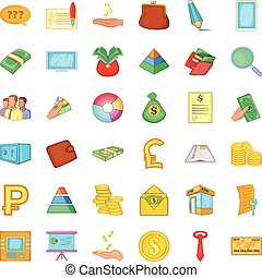 Banking icons set, cartoon style - Banking icons set....