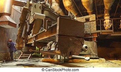Equipment and machines at the metallurgical plant. Heavy...