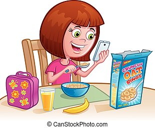 Girl Eating Cereal - Cartoon of a girl eating breakfast...