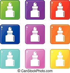Black inkwell set 9 - Black inkwell icons of 9 color set...